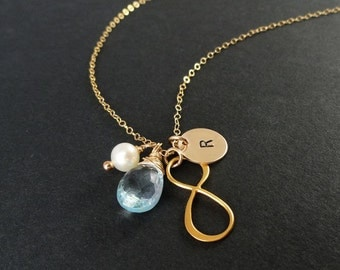 Infinity necklaces, infinity symbol, Personalized Bridesmaid gifts, Friendship necklaces, Bridal jewelry, Best friend gifts, Otis B