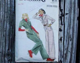 Butterick 4396 1970s 70s Disco Jumpsuit Playsuit Vintage Sewing Pattern Size 14 Bust 36