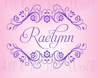 Name Vinyl Wall Decal Shabby Chic Personalized Girl Baby Nursery Wall Decal Room Wall Art