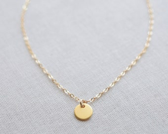 Little Gold or Silver Disk Necklace - simple gold necklace - tiny gold dot necklace - 1219