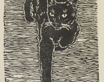 "Black cat block print, hand-pulled, limited edition print - ""Best foot forward"""