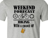 Bicycle T-Shirt-Weekend Forecast-Chance of Beer-Road Bike Tshirt in Athletic Grey