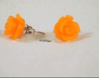 Frosted Resin Rose Earrings, Orange Rose Pierced Earrings. Girls Stud Earrings, Gift For a Girl or Teen  CKDesigns.us