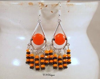 Halloween Earrings, Day Of The Dead Earrings, Black and Orange Earrings, Beaded Chandelier Pierce Earrings. CKDesings.us