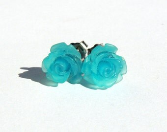 Capri Blue Earrings  10mm Aqua Matte Frosted Translucent Rose Cabochon Titanium Stud Earring Pair  Hypoallergenic Minimalist Jewelry