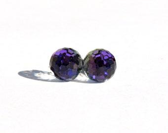 Purple Fireball Earrings  8mm Vintage Round Violet Blue Heliotrope Swarovski Crystals on Titanium Posts Earring  Hypoallergenic Jewelry