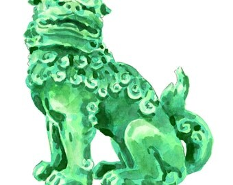 Foo Dog Green Jade China - Giclee Print of Watercolor - Fu Lion Japan Bookends Asian Decor Porcelain Chinoiserie Chinese Antique Ming Vase