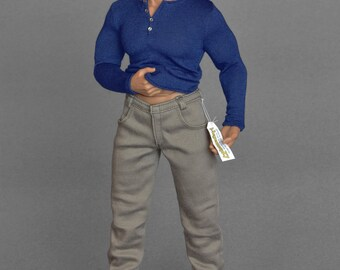 1/6th scale XXL khaki / beige jeans pants trousers for: bigger / larger sixth scale figures and male dolls