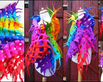 felted wool scarf, scarves, wrap, handmade, felt, merino wool , art to wear, rainbow, MADE TO ORDER