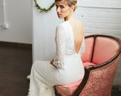 Lace Boho  Wedding Dress with Sleeves Open Back and BEAUTIFUL skirt detailing