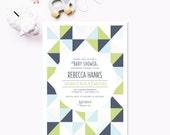 Printable Baby Shower Invitation, Geometric