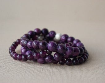 Bohemian Bracelets, Purple Bracelets, Stack Bracelets, Gypsy Bracelets, Aubergine, Violet, Plum, Rustic, Stone, Stretch, Boho, Trending