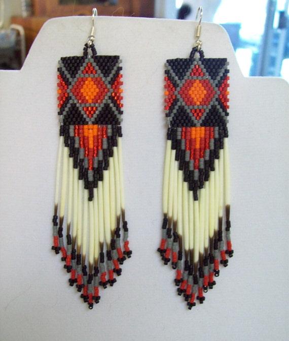 Native American Inspired Beaded Diamond Rug Earrings Red, Orange, Grey Black Southwestern, Boho, Geometric, Brick Stitch Peyote, Loom