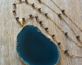 Blue Agate Slice Necklace // Gold Edged, Wire Wrapped Beaded Rosary Chain, Smoky Quartz Stone, Turquoise Geode Mineral Rock, Delicate Layer