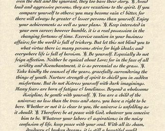 Poster Only, Cheerful Desiderata Poem 11 X 17 (28x43cm) Archival Parchment