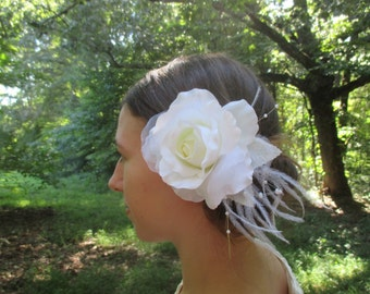 Creamy white rose hair flower clip with adornments, customized