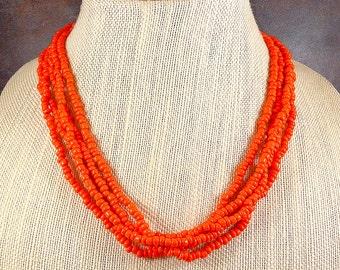 Orange Seed Bead Necklace, Multistrand, Chunky Necklace, Small Beaded Necklace, Orange, Statement necklace, Layering necklace, Orange Beads