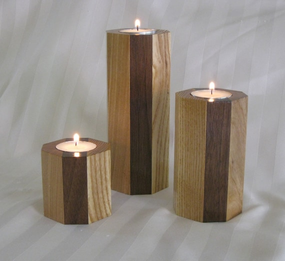 Quality Hardwood Octagon Shaped Tea light Candle Trio