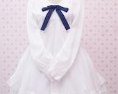 Vintage White Chiffon Dress With Lace and Navy Blue Ribbon - White Wedding Dress - White Lolita Dress - White Classic Lolita Dress