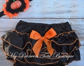 Ready To Ship Halloween Bloomers, Baby Satin Bloomers, Pumpkin Halloween Headband, Girls Black Satin Bloomers