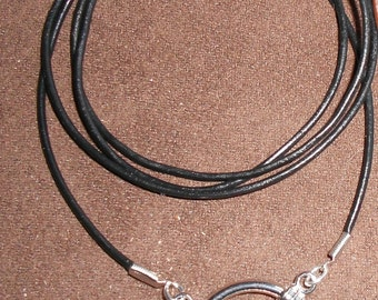 Leather cord eyeglass holder Necklace with a Big LOOP - black or brown cord