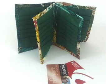 Wallet Credit Card Holder Organizer with 36 Slots Cotton Fabric Women Ladies Business Card Book Receipts Coupons Eva Clements BananaBunch