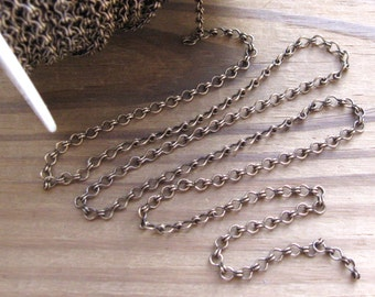 Brass Ox Ladder Chain 7x4mm Links By the Yard American Made (1 yd)