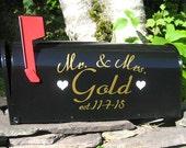 Custom Wedding Card MAILBOX  - Gold or Silver Metallic Vinyl - Personalized Wedding Card Box -  Wedding Day Decoration - Custom Mailbox