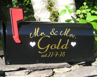 Custom Wedding Card MAILBOX  - Gold or Silver Metallic Vinyl - Personalized Wedding Card Box -  Wedding Day Decoration - Custom Mailbox