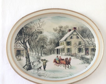 Vintage Currier and Ives Tray American Homestead Winter