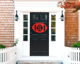 """Football Season Door Hanger - Custom Monogram Door Hanger - Unfinished or Painted - 18"""" Size"""