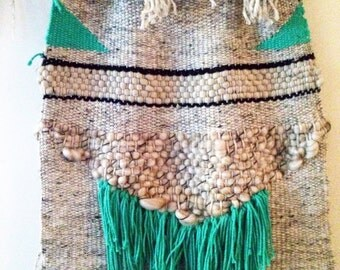 As I Live and Weave - Green Tan Beige Textued Weaving Wall Hanging Fiber Art
