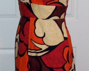 Vintage 1960s Ladies Psychedelic Mod Dress by Debr's of Waikiki Small Only 30 USD