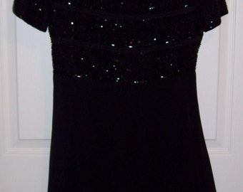 Vintage Ladies Black Beaded Cocktail Dress by Laurence Kazar Small Only 9 USD