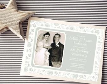 Personalized - 10th, 25th  Wedding Anniversary Invitation - Silver Floral  - Custom Printable