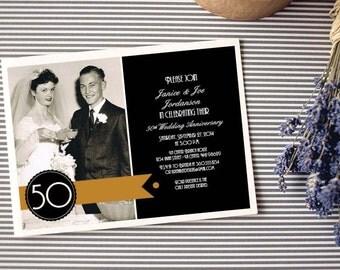 Personalized - 50th Wedding Anniversary Invitation - Gold and Black - Custom Printable