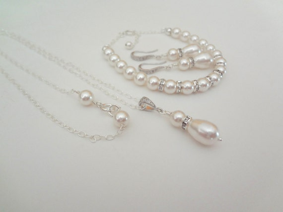 Brides jewelry set - 3 piece ~ Pearl set - Necklace, Bracelet and Earrings  - Sterling Silver - The Kristen set is STUNNING ~Wedding jewelry