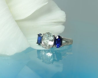 Blue Sapphire Silver Ring, Blue Sapphire, Herkimer Diamond, Natural Blue Sapphire. Sapphire Three Stone Ring
