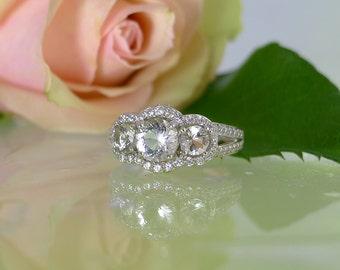 Three Stone Engagement Ring, Three Stone Ring, Halo Ring, April Birthstone Ring, Halo Engagement Ring, Three Stone Wedding Ring,