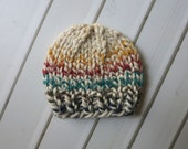 DISCOUNTED - old stock - Simple Knit Tweed Beanie, Newborn RTS Photography Prop, Ready to Ship