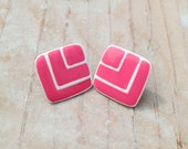 Vintage Magenta Pink and White Enamel Chevron Diamond Shaped Statement Stud Earrings / Post Back Oversize Pierced Studs