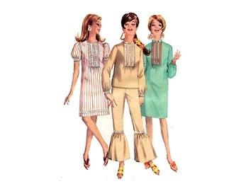 1960s Flow Pants, Top or Dress Pattern Flounced Pants Mandarin Collar Straight Dress Simplicity 6869 Bust 34 Vintage Sewing Pattern