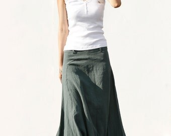 Romantic Maxi Skirt Long Linen Skirt in Dark Green - NC456
