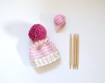 Hand Knitted Kids Beanie // Custom Striped Kids Hat // Striped Baby Hat // Kids Winter Hat // Chunky Knit Baby Hat // Striped Baby Beanie