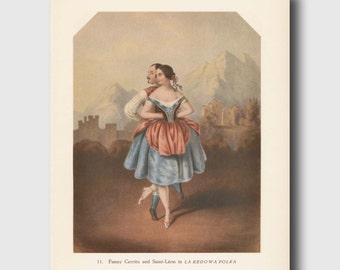 Ballet Wall Art, Ballerina Art Print, Romantic Ballet Print (Theatrical Dance, Vintage Book Plate No. 11)
