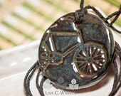 Shiny Round Bicycle Essential Oil Diffuser Necklace | Lisa C. Warren | Handmade | Aromatherapy Natural Medicine