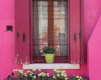 Pink Photograph, Burano Photograph, Window Box Picture, Italy Photograph, Hot Pink Art, Wooden Shutters, Wall Art, Pink Decor, Feminine Art