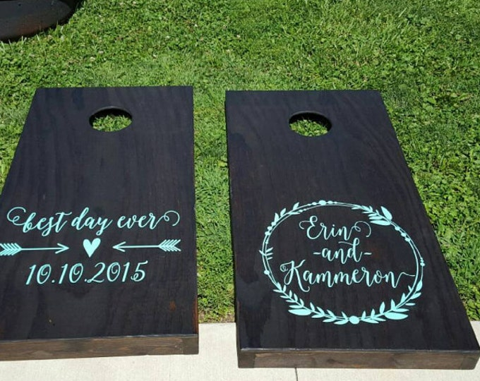 Personalized Wedding Wreath with Best Day Ever Corn Hole Board Decals | Wedding Vinyl Decal Set | Cornhole Game Boards | Rustic Wedding