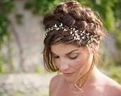 Gold Boho Halo, Wedding Hair Vine, Bridal Rhinestone headband, hair jewelry, gold wire, glass crystals - Vine - HB627