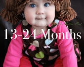 Cabbage Patch Kid Inspired Crochet Hat Wig, Size 13-24 MONTHS Baby/Toddler, Made to Order
